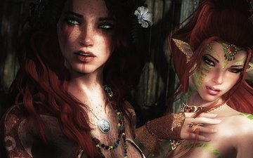 look, fantasy, girls, hair, the game, face, elf, skyrim, lilu, malu