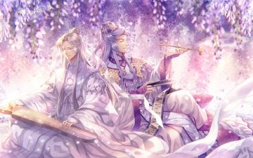 anime, magical girl, instrument, capura, lin, anime boys, traditional chinese clothes