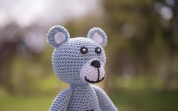 bear, toy, knitting