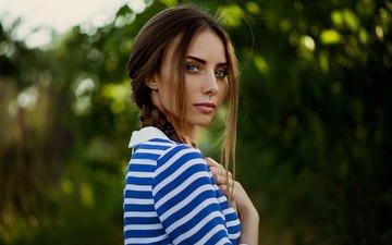 девушка, портрет, взгляд, модель, волосы, губы, лицо, коса, голубые глаза, анна неврева
