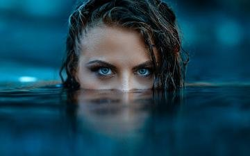 eyes, water, girl, look, hair, face, alessandro di cicco