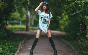 girl, look, stockings, hair, face, t-shirt, baseball cap, denim shorts