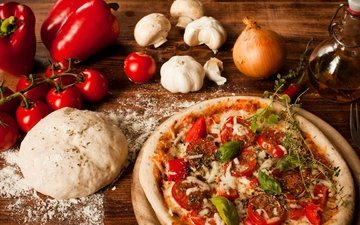 mushrooms, bow, cheese, oil, tomatoes, pepper, pizza, garlic, the dough, flour