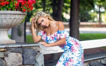 flowers, girl, dress, blonde, look, hair, face, craig spratt