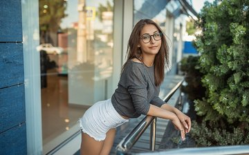 girl, smile, look, glasses, hair, face, shorts, a diakov george