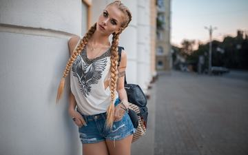 blonde, wall, t-shirt, karina, braids, denim shorts