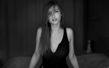 девушка, взгляд, чёрно-белое, модель, лицо, длинные волосы