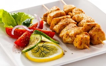 greens, lemon, vegetables, meat, kebab, chicken, skewers