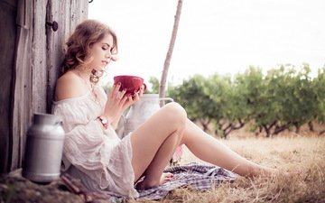 girl, look, profile, sitting, legs, hair, cup, milk, cans