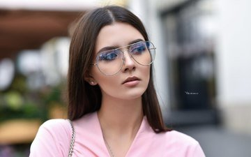 girl, look, glasses, hair, face, polina grents, maksim romanov