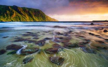 вода, горы, волны, закат, море, пляж, побережье, норвегия, martin huddart
