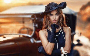 девушка, платье, портрет, модель, губы, шляпка, жемчуг, перчатки, фотосессия, карие глаза, алессандро ди чикко