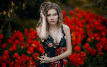 flowers, girl, dress, blonde, portrait, look, hair, face, daria, hakan erenler