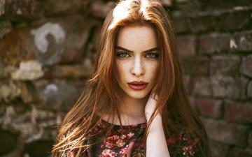 портрет, губы, лицо, зеленые глаза, веснушки, рыжеволосая, рейчел, klaudia kirschner