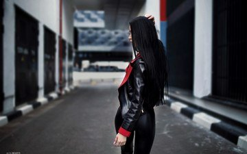 girl, brunette, jacket, kozhanka, alex marti