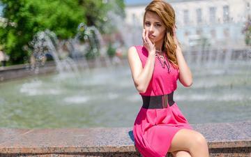платье, рыжая, фонтан, модель, длинные волосы, grigoriy lifin