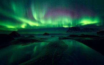 beach, northern lights, norway, the lofoten islands, sven broeckx, lofoten