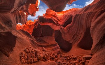 the sky, rocks, nature, stones, canyon, usa, antelope canyon, az, janusz leszczyn