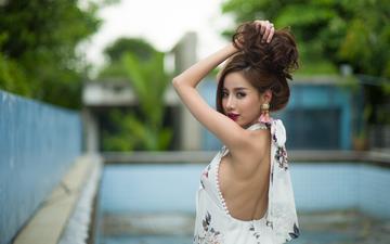 девушка, брюнетка, взгляд, модель, волосы, лицо, азиатка, руки в волосах