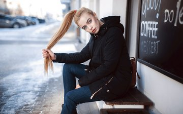 girl, blonde, look, sitting, jeans, blue eyes, ponytail