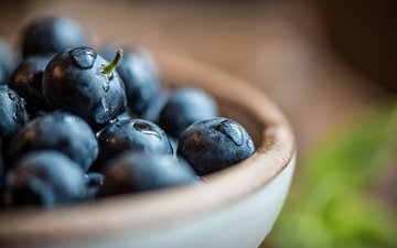 macro, drops, berry, blueberries
