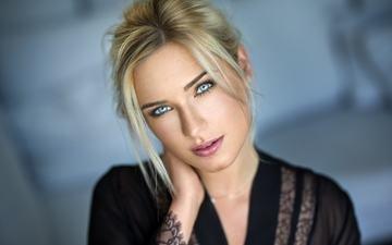 девушка, блондинка, портрет, модель, губы, лицо, голубые глаза, помада, lods franck, ева микульски