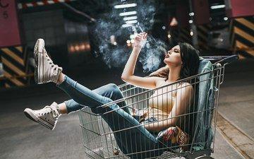 девушка, настроение, дым, кеды, джинсы, сигарета, конверс, антон харисов, fotoshi toshi