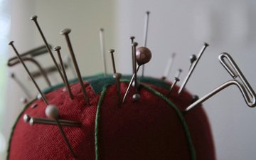 needles, nails, pins, cushion