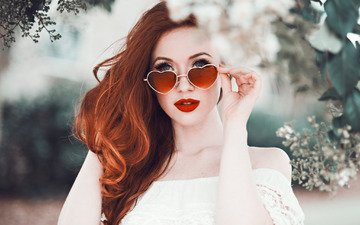 flowers, girl, portrait, branches, glasses, makeup, in white, redhead