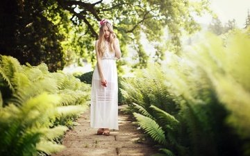 girl, dress, blonde, summer, fern, barbora