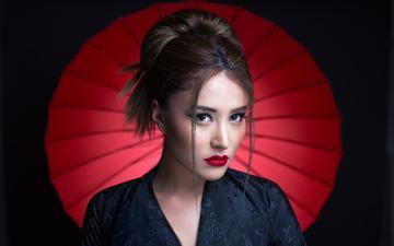 девушка, портрет, брюнетка, модель, лицо, зонтик, гламур, красная помада, natalia arantseva