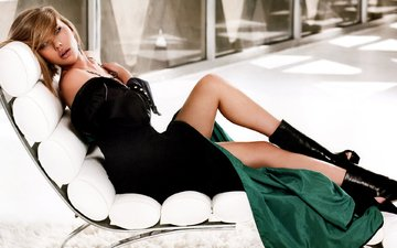 girl, dress, blonde, legs, chair, window, carpet, fur, scarlett johansson
