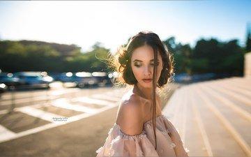девушка, портрет, модель, голые плечи, grigoriy lifin, diana vesnina
