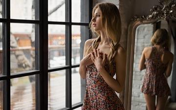 девушка, отражение, блондинка, взгляд, зеркало, модель, окно, сергей fat, elizaveta podosetnikova