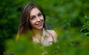 nature, leaves, girl, smile, look, hair, face
