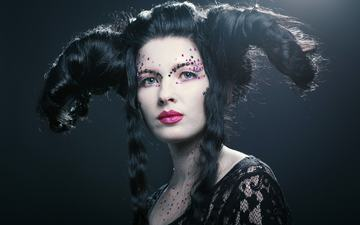girl, portrait, look, fantasy, model, hair, face, horns, makeup, alex rimsky