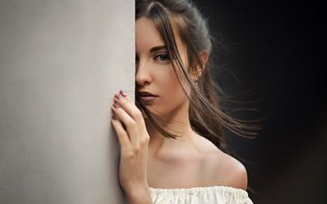 girl, brunette, look, model, hair, face, makeup, long hair, bare shoulders, sergey fat