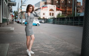 girl, dress, the city, sneakers