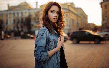 портрет, улица, модель, рыжеволосая, джинсовка, ксения кокорева, сергей fat