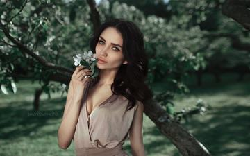 flowering, girl, brunette, look, spring, face, neckline, blue eyes, nikolay shlykov