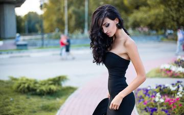 dress, brunette, model, bare shoulders, wavy hair, grigoriy lifin