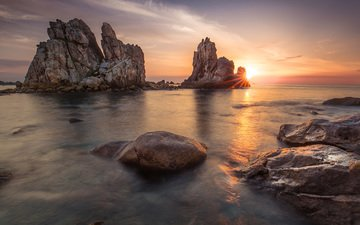 rocks, landscape, sea, dawn, coast, nicolas fily