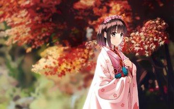 цветы, кимоно, saenai heroine no sodatekata, katou megumi, megumi