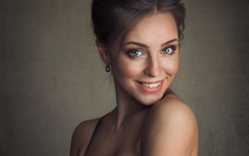 girl, smile, look, model, hair, face, nastya, sean archer