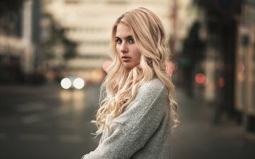 girl, blonde, portrait, look, martin kuhn, jellina