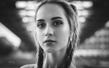 girl, portrait, look, black and white, hair, face, braids