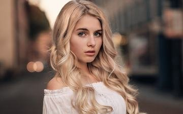 girl, blonde, street, model, makeup, hairstyle, martin kuhn