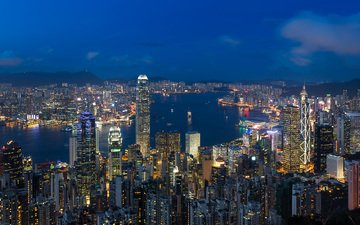 lights, the evening, the city, asia, china, hong kong