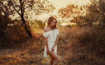 девушка, платье, блондинка, модель, ноги, голые плечи, волнистые волосы, ирина регент, ann nevreva