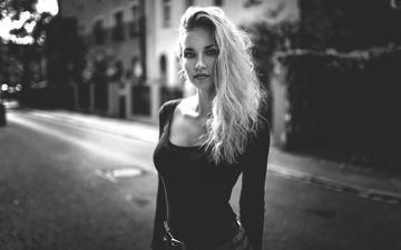 глаза, блондинка, чёрно-белое, улица, модель, волосы, франци, миро hofmann